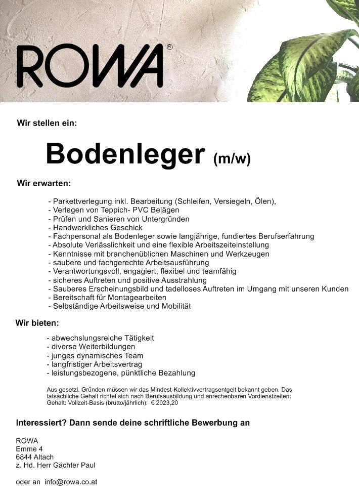 Rowa raumausstatter maler bodenleger raumausstatter for Raumausstatter gesucht